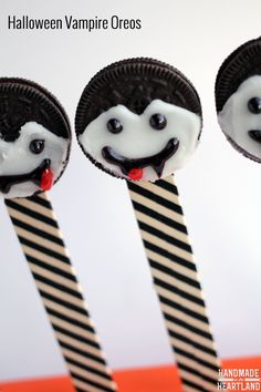 Halloween Snacks: Vampire Oreos. This fun Halloween food craft treat recipe is perfect for a Halloween party or school treat!