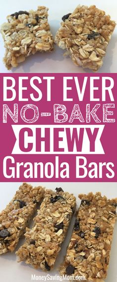 These No-Bake Granola Bars are SO easy to make and super delicious! bake snacks, Chewy No-Bake Granola Bars Granola Bar Recipe Easy, No Bake Granola Bars, Healthy Granola Bars, Chewy Granola Bars, Granola Cookies, Granola Bar Recipes, Chia Seed Granola Bars, Healthy Bars, No Bake Bars