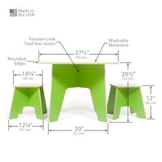 The Sprout Modern Kids Table and Stools are perfect for art, play, or craft projects. They make great study tables and activity tables. Designed at just the right size, you won't have to worry about p