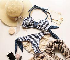 Zooey 1401 et 1402 - haut de Bikini et bas avec couture de maillot de bain deux pièces style vintage deux variations de mires téléchargement instantané