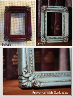 Small Modern photo frame painted with Provence Annie Sloan Chalk Paint and finished with a layer of Dark Wax