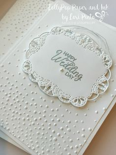 Stampinup! Stampin'Up! Stitched All Around Stamp Set and Bundle Wedding Card with Beautiful Bouquet sentiment with Silver embossing by Lori Pint