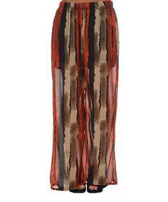 Green & Tan Abstract Wide-Leg Pants - Plus #zulily #zulilyfinds
