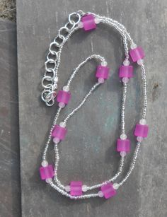 Handmade Beaded Long Pink Cube Necklace - Pink Cube Beads and Seed / Spacer Beads by TheYellowHouse39 on Etsy