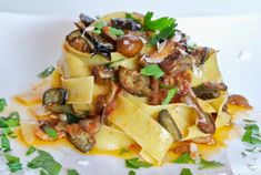 A super easy pasta dish to prepare on a busy day, Quick Eggplant and Mushroom Pappardelle from my husband Robert is a crowd-pleaser! A bit sweet, a bit spicy, a bit earthy -it has a mouth-watering combination of flavors. Eggplant Pasta, Eggplant Dishes, Eggplant Recipes, Cheap Clean Eating, Clean Eating Snacks, Eggplant Mushroom Recipe, Mushroom Sauce, Pasta Recipes, Cooking Recipes