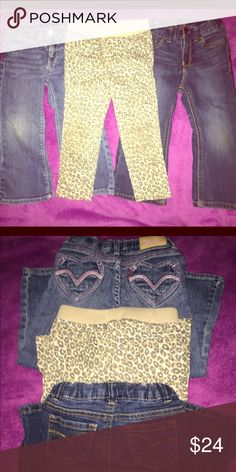 3 pairs of pants⭐ 2T 🌟1 pair 2T dark wash bootcut jeans with stretch. Cherokee brand. Adjustable elastic waist, zip fly. 🌟1 pair 2T leopard print jeggings with stretch.Cherokee brand. Elastic waist & faux front pockets. 🌟1 pair 2T medium wash bootcut jeans with stretch. Levi's brand. Adjustable elastic waist, zip fly. Heart shaped embroidered rear pockets. All are IN EUC. 🚫NO TRADES. Cherokee Bottoms Jeans