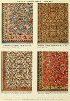 Examples of Wilverton Seamless Wilton Velvet Rugs from H.A. Herz  catalog, early 1900s.