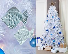 Under the sea Christmas tree with DIY Aluminum Embossed Ornaments of Fish and Seahorses. Featured on CC:  http://www.completely-coastal.com/2014/12/diy-aluminum-embossed-christmas-ornaments.html
