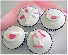 White Birdie Christening-Baby Shower cupcakes by Elite Cake Designs