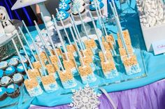 Disney's Frozen inspired birthday party with Such Cute Ideas via Kara's Party Ideas | Cake, decor, cupcakes, games and more! KarasPartyIdeas.com #frozenparty #frozen #partideas #partydecor (8)