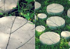 Concrete stones with rhubarb pattern Concrete Stone, Concrete Pots, Landscape Boarders, Crafty Projects, Projects To Try, Garden Structures, Yard Art, Ideal Home, Decoration