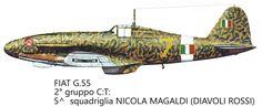 """Fiat G-55 - A.N.R. - 2° Gruppo C.T. 3a Squadriglia Caccia """"Diavoli Rossi"""", pilotato da Nicola Magnaldi"""
