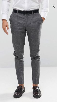 Jack & Jones Premium Smart Trouser In POW Check at ASOS. Mens Spring Fashion Outfits, Mens Fashion Wear, Stylish Mens Outfits, Fashion Pants, Slim Fit Dress Pants, Mens Dress Pants, Men Dress, Moda Formal, Formal Men Outfit