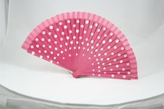 Abanicos para bodas.Abanico de lunares color rosa