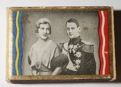 A souvenir match box from the wedding of Ingrid and Frederick, with the Khedive tiara shown, 1935