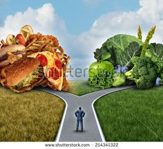 Diet decision concept and nutrition choices dilemma between healthy good fresh fruit and vegetables or greasy cholesterol rich fast food with a man on a crossroad trying to decide what to eat. - stock photo