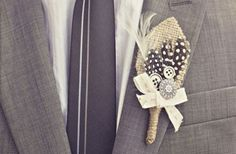 DIY: A Burlap Boutonniere- doing this for the guys- just with a little spin on it :-)