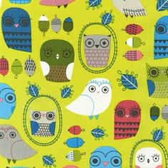 Owls in Bermuda, from the Critter Community Collection by Suzanne Ultman for Robert Kaufman fabrics