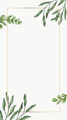 Leaves Wallpaper Iphone, Gold Wallpaper Background, Green Leaf Background, Wallpaper Backgrounds, Powerpoint Background Design, Background Decoration, Instagram Frame, Floral Border, Flower Backgrounds