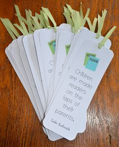 Free download: bookmarks for parents Create these bookmarks to give to students when teaching parenting.