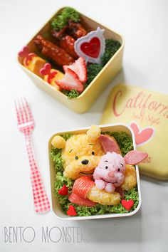 Piglet and Pooh Bear. This is way too cute.