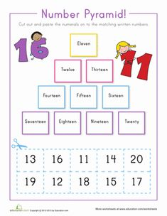First Grade Counting Worksheets: Number Pyramid 11-20