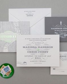 New York-Themed Invitation    Inspired by the historic Bowery Hotel in lower Manhattan, this design is backed with a design inspired by a vintage map of New York City.