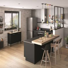Beautiful small kitchen design ideas and decor 1 Kitchen Room Design, Home Decor Kitchen, Interior Design Kitchen, New Kitchen, Home Kitchens, Modern Kitchens, Kitchen Small, Kitchen Hacks, Trendy Home
