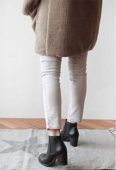 textured coat, white denim and ankle boots #style #fashion