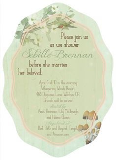 Woodland Beauty 5x7 Boutique Die-cut Invitation (Bridal Shower, Baby Shower, Birthday Party)