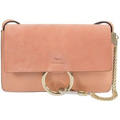 Chloe Faye Shoulder Bag (€1.030) ❤ liked on Polyvore featuring bags, handbags, shoulder bags, chloe, rose gold, man bag, red hand bags, purse shoulder bag, chloe handbags and chain strap purse