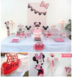 Pink Minnie Mouse girl birthday party! See more party ideas at CatchMyParty.com!