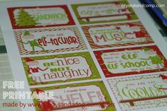 free printable Elf on the Shelf: Lunchbox Notes