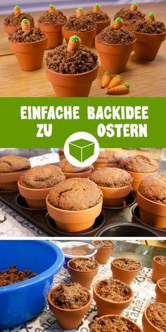 Einfache & leckere Backidee zu Ostern. Kleine Muffins im Terrakotta-Töpfchen. Wie Du dein eigenes süßes Möhrenfeld kreierst, erfährst Du nach einem Klick in unseren Magazin. #ostern #backen #backidee #oderidee #möhre #karotten #schokomuffin #diy