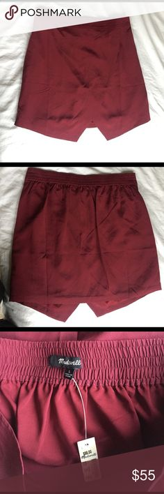 Madewell Silk Parkway skirt More or a Maroon color than dark red Madewell Skirts Mini