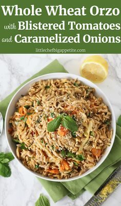 This Whole Wheat Orzo with Blistered Tomatoes, Caramelized Onions, and Mint recipe is healthy and delicious! It's the perfect make-ahead recipe that you can prepare in advance and eat throughout the week for lunch or dinner. ll www.littlechefbigappetite.com ll Orzo Recipe, Whole Wheat Recipe, Whole Grain Pasta, Whole Wheat Pasta, Whole Grain Orzo, Tomato Recipe, Cherry Tomatoes, Pecorino Romano, Side Dish, Healthy Side Dish, Greek Cuisine, Greek Recipe, Mediterranean Pasta, Mediterranean…