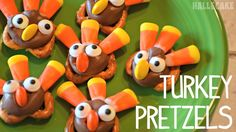 Make Turkey Pretzels for your Thanksgiving Meal Dessert. Too cute!