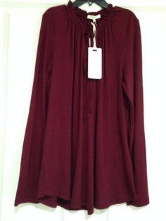 NWT PLEIONE  Burgandy XS Casual Knit Poet Tie Ladies Long Sleeve Top MSRP $62  | eBay