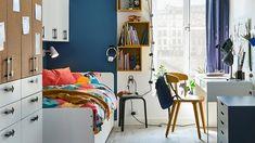 Inspiración dormitorios juveniles Ikea - Nuevo catálogo 2021 - FOTOS Dream Bedroom, Kids Bedroom, Childrens Room, Long Desk, Ikea Family, Big Girl Rooms, Kidsroom, Tween, Furniture