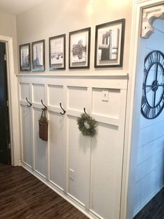 board and batten wall How To Update A Boring Hallway With Board And Batten Home Improvement Projects, Home Projects, Home Renovation, Home Remodeling, Decoration Entree, Entryway Wall, Foyer, Entryway Coat Hooks, Young House Love