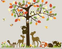 Items similar to Vinyl Nursery Wall Decal Forest Tree with owls,birds,bears,squirrels,deer on Etsy Animal Wall Decals, Nursery Wall Decals, Wall Murals, Forest Animals, Woodland Animals, Tree Decals, Baby Nursery Themes, Owl Bird, Woodland Theme