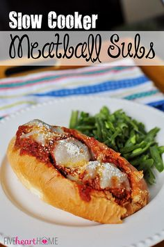 Slow Cooker Meatball Sub Sandwiches ~ meatballs cook up in the crock pot to top tasty and effortless subs
