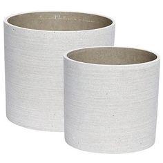 hübsch urtepotter i beton, grå, sæt med to stk.