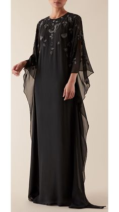 Floor length and elegant drapes. The FLORI kaftan is decorated with glittering thread work and embellishments in a stunning floral motif. Muslim Fashion, Modest Fashion, Modern Hijab, Latest African Fashion Dresses, Kaftans, Thread Work, Occasion Wear, Holiday Fashion, Marchesa
