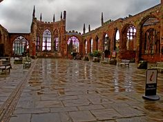 Coventry Cathedral ruins after a heavy shower - England
