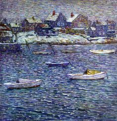 Boats in Winter, Rockport, Massachusetts (Charles Salis Kaelin)