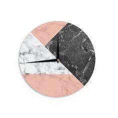 Kess InHouse Kess Original 'Geo Marble and Coral' Black Art Deco Wall Clock (Geo Marble and Coral), Orange, Size 12 (Wood)
