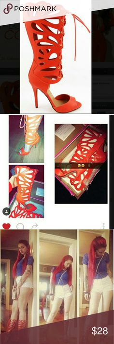 Orange gladiator high heels women's sandals shoes BRAND NEW WITH BOX   Sexy pop of color with these orange high heel gladiator sandals, cute paired with a dress, shorts, Capris, leggings etc..  Good for girls night out, dinner date, birthday or holiday party, clubbing & more   Has a high quality look such as Christian loubitin, Jimmy choo, giuseppe zanotti & gucci kierraskloset.tictail.com Shoes Heels