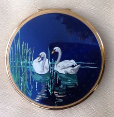 Stratton swan convertible compact vintage powder compact Stratton convertable compact Stratton water fowl compact Stratton birds compact by DaynartVintage on Etsy
