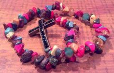 Colorful Rock Cross #BeadedBracelets by RandRsWristCandy on Etsy, $8.00 #crossbracelets